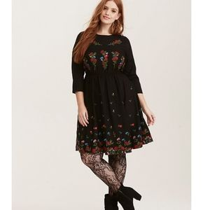Torrid multi-color embroidered challis skater dres